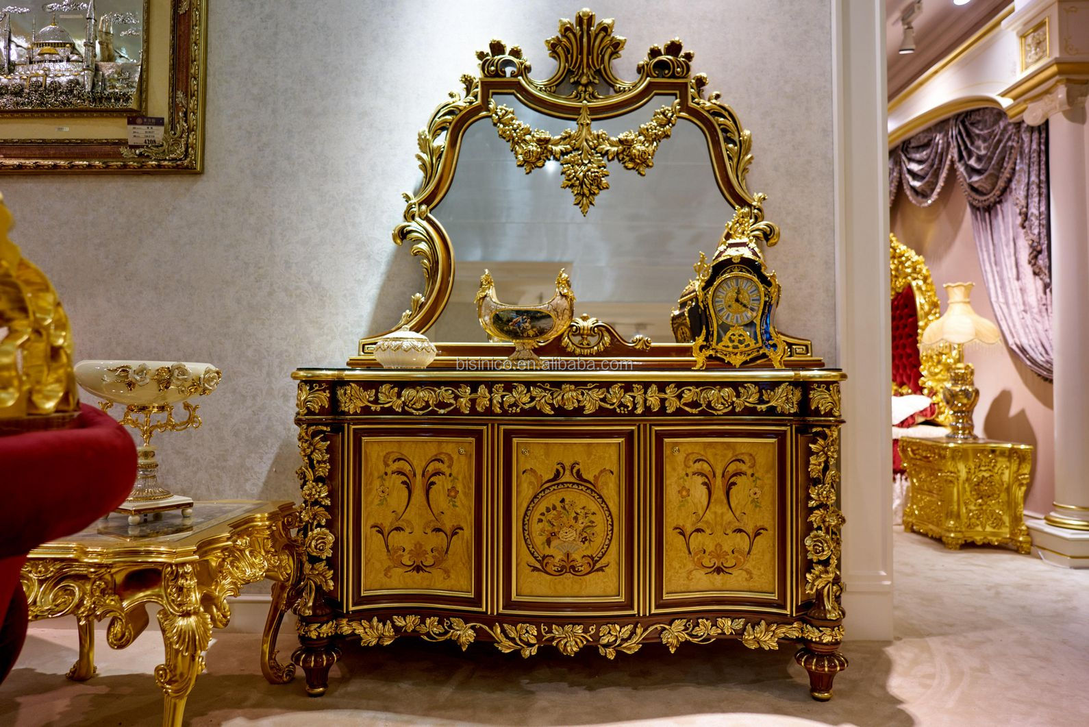 Antique Carved 24K Gold Bedroom Furniture, Luxury Palace Design Upholstered Furniture Set, European Style Royal Bedroom Set