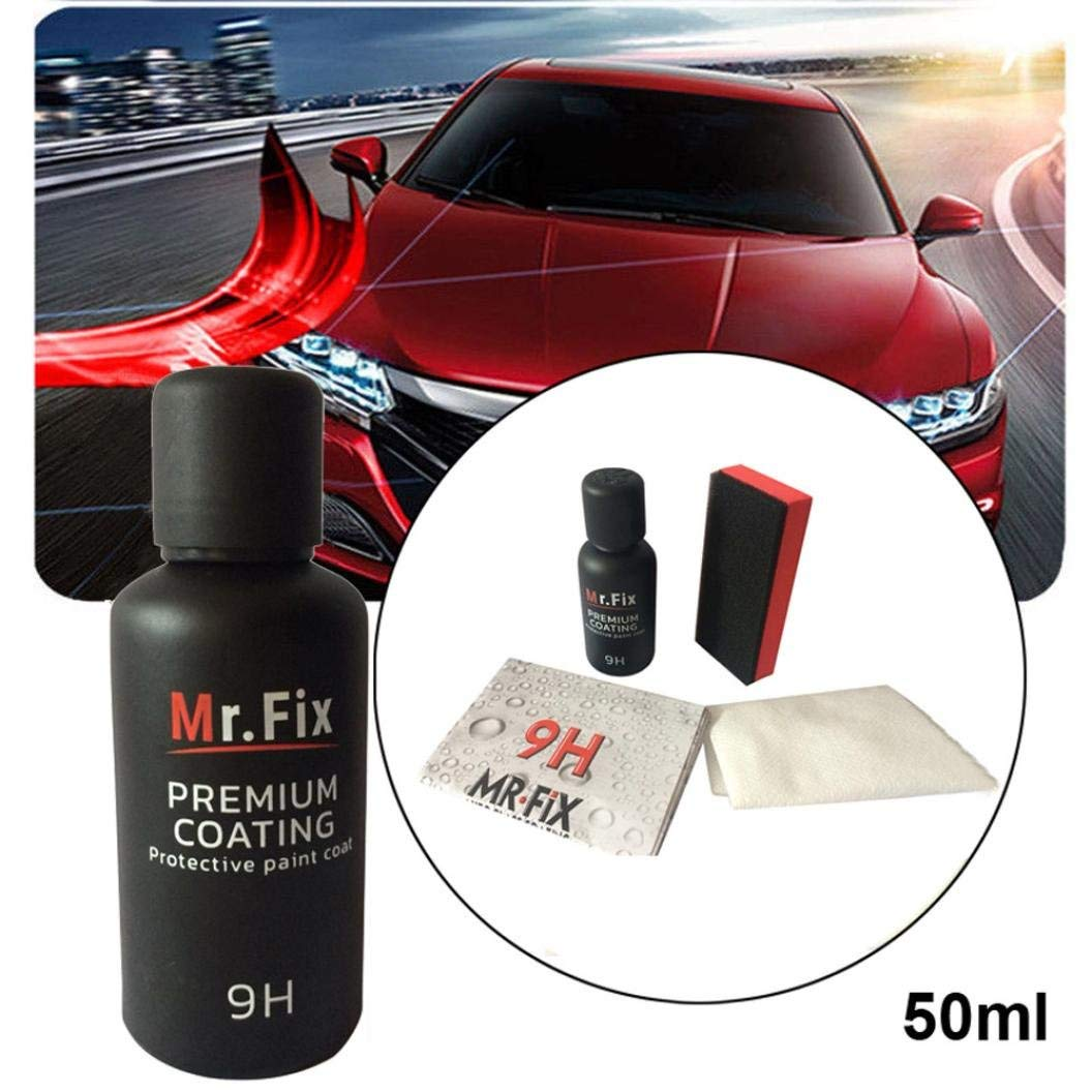 Exteren 50ML 9H Car Oxidation Liquid Ceramic Coat Super Hydrophobic Glass Coating Set Car Ceramic Coating Kit (Multicolor)