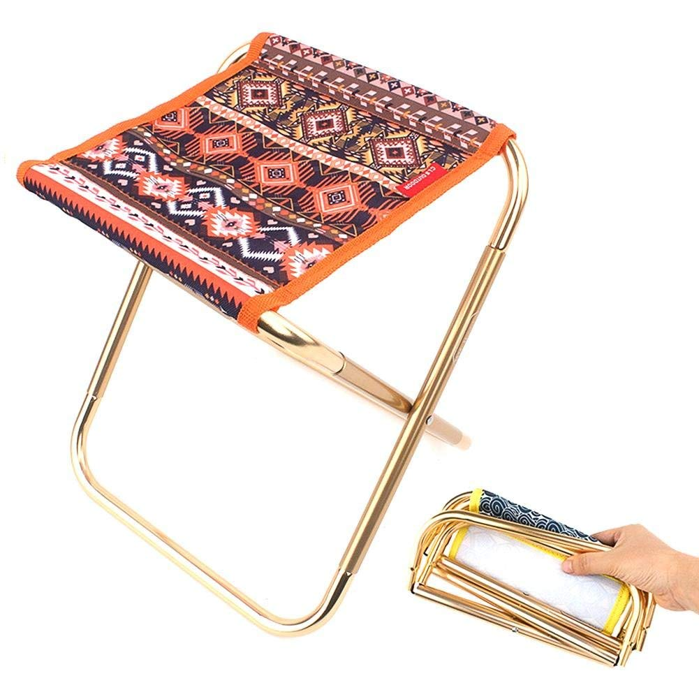 Portable Folding Stool Outdoor Folding Chair,Lightweight Aluminum Folding Chair with a Packing Bag for Hiking,Fishing,Beach and More.