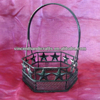 Country antique wire mesh gift basket with decor stars and handle