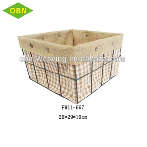Metal mesh iron wire basket for storage with fabric lining