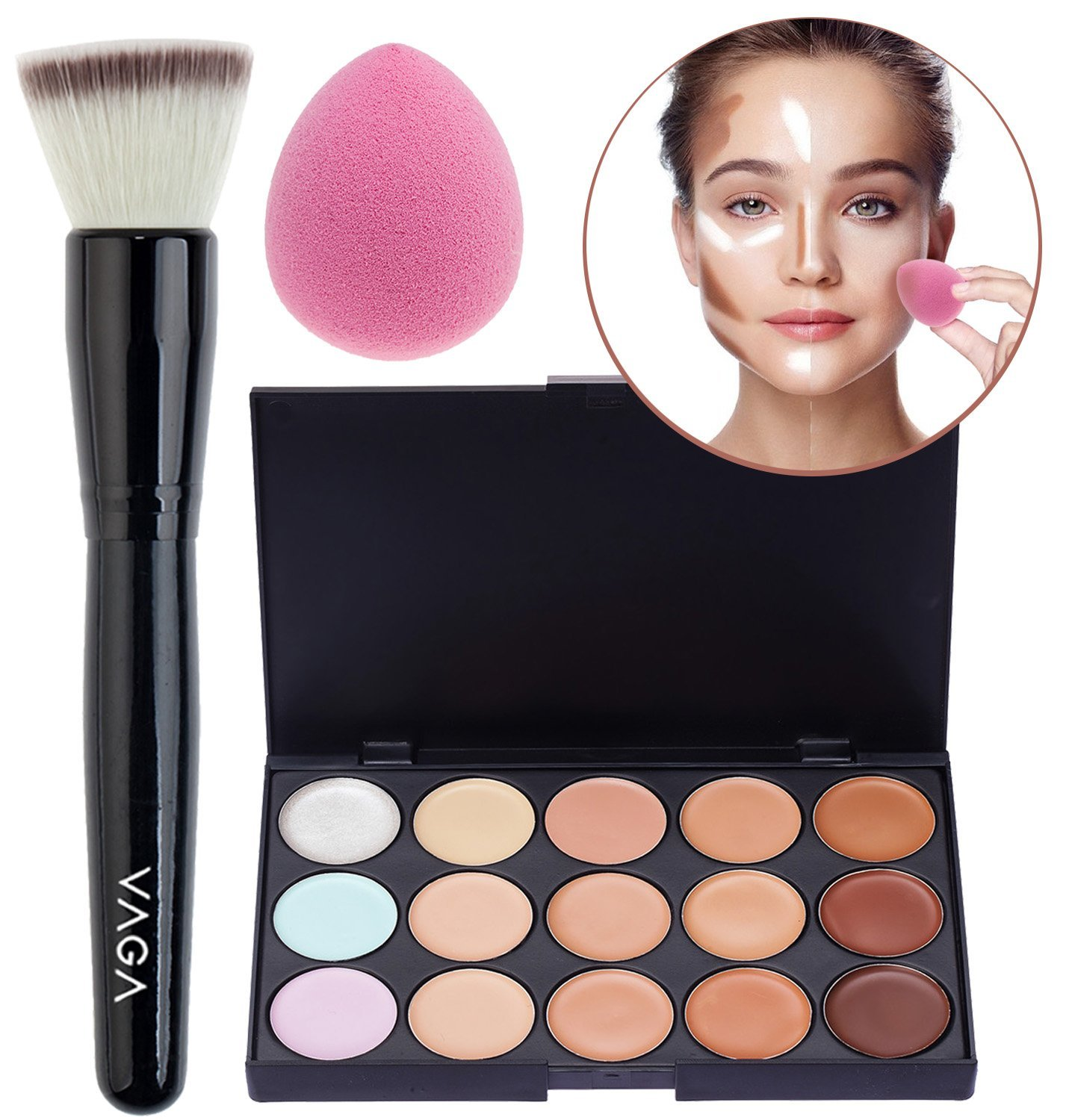 Make Up Beauty Tools and Cosmetics Set / Kit / Lot With Flat Powder Brush / Applicator, 15 Colors / Shades Makeup Concealers / Foundations Palette and Pink Teardrop Shaped Application Sponge