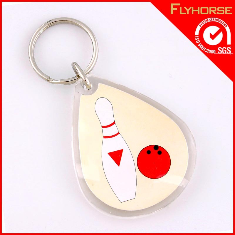 Bowling ball picture acrylic keychain for wholesale