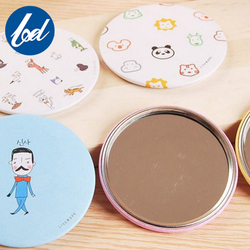 Round Cute Little Printed Compact Pocket Makeup Mirror
