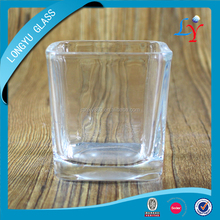 heat resistant square clear glass candle holder