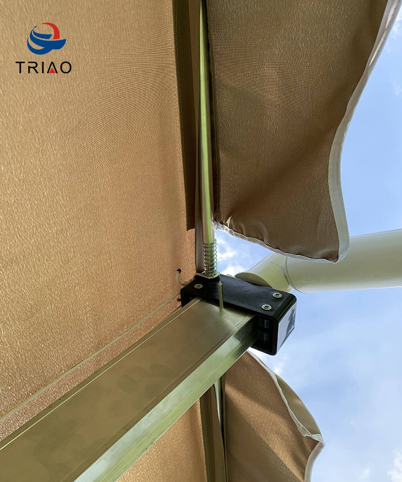 Al aire libre toldo PATIO toldo GAZEBO refugio MANUAL toldo retráctil RECTANGULAR OFFSET paraguas