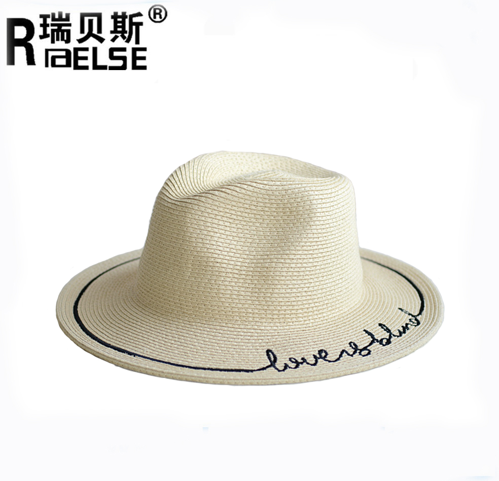 Hot style large straw hat fashion embroidered straw writing text summer beach  hat 3bdae58ea04