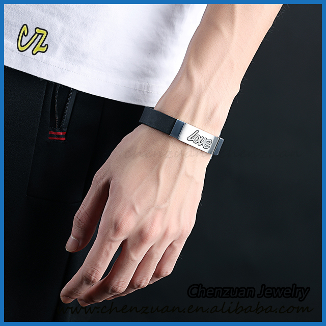 Wholesale fashion mens bracelets love charms rubber silicone bracelet stainless steel jewelry.jpg