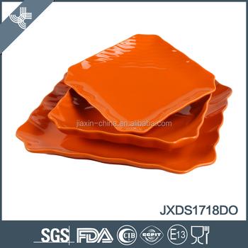 18pcs orange color ceramic dinner set good quality irregular shaped dinnerware  sc 1 st  Alibaba & 18pcs Orange Color Ceramic Dinner Set Good Quality Irregular Shaped ...