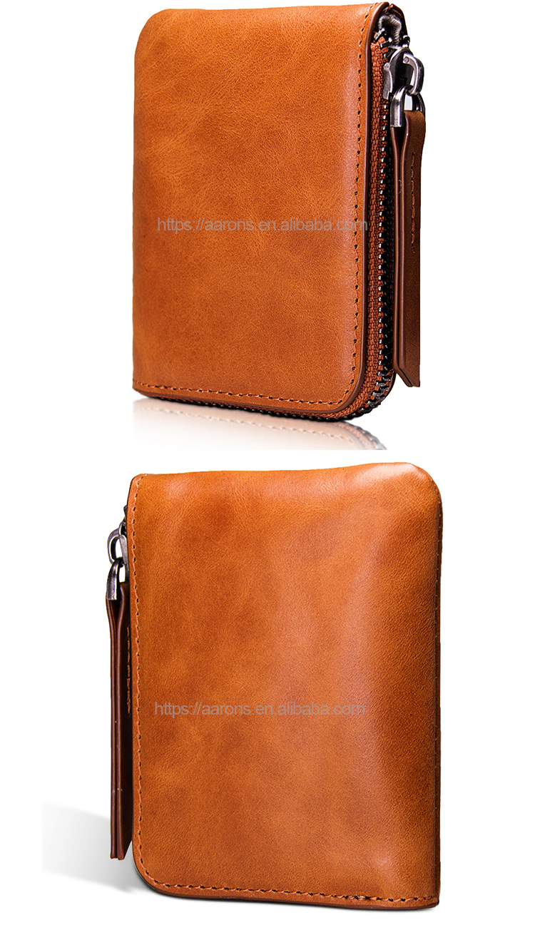 New brown guangzhou supplier fashion design leather money clip wallet handmade wallet leather genuine leather wallet for men