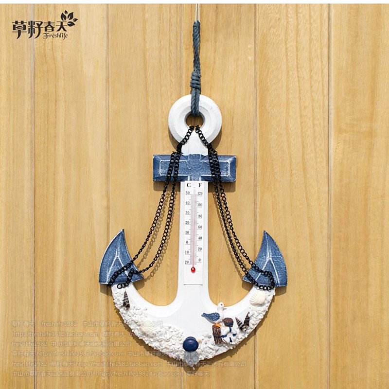 features The Mediterranean country style wooden anchor wall act the role ofing thermometer peg to hang <font><b>Home</b></font> <font><b>decoration</b></font>