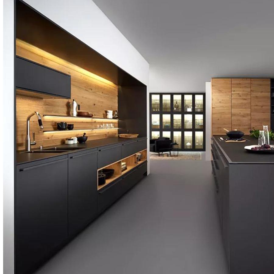 Matte Grigio Su Misura Armadio Da Cucina di Bordo della Melammina Armadio Da Cucina Mobili Da Cucina di Design