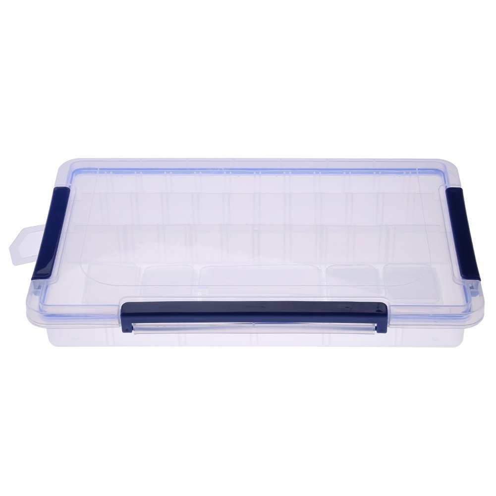 Clear Plastic Detachable Storage Box, Rectangle Stackable Storage Bins with Blue Latching Handles, Detachable Jewelry Beads Ring Storage Box Compartment (Large 28 compartments)