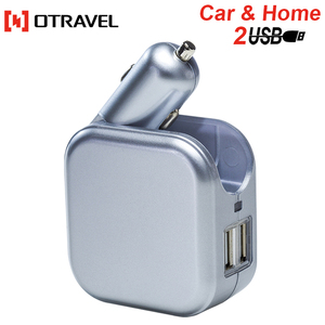 Otravel 2018 Electric 2 port usb charger 2 in 1 car and outlet charger 5V 1A/2.1A car charger for mobile phone