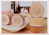 Round mini children wooden cartoon kids rubber stamps