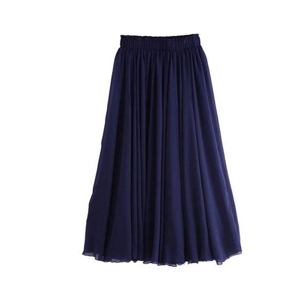 Navy Chiffon Skirt