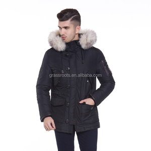 Men's winter thick padded quilted windproof long jacket parka with fur