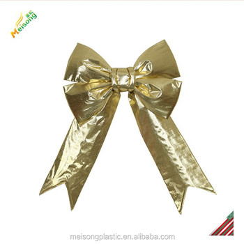gold glitter metallic fabric giant butterfly gift bow for christmas
