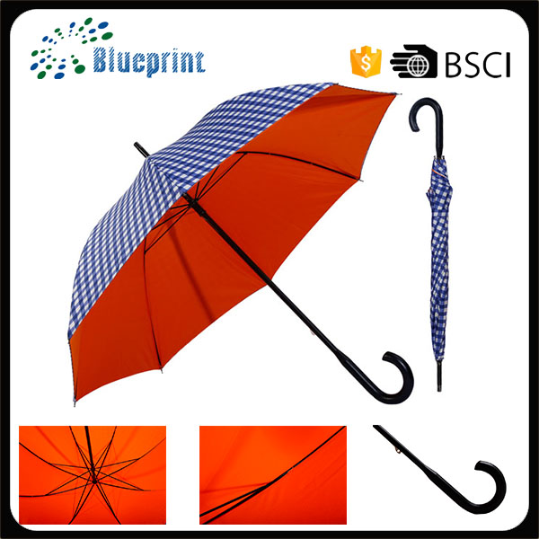 High Quality Check Fabric Rain Two Layers Stick Umbrella Frame