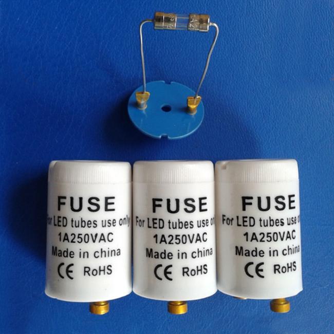 CE,ROHS T8 led tube starter high quality 250V 1A led tube starter with fuse