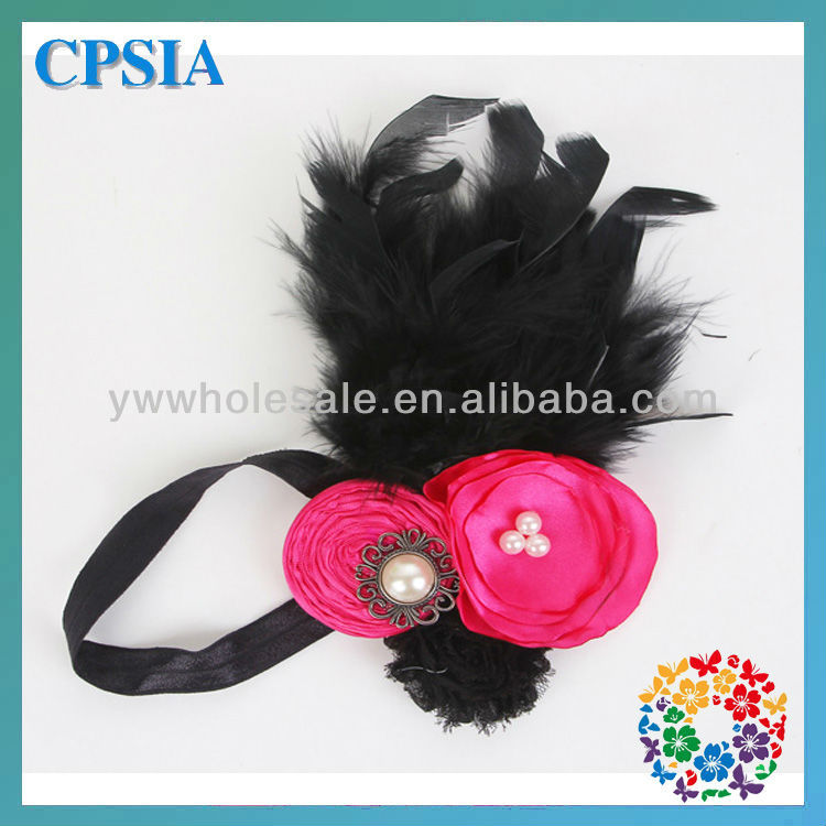beautiful baby flower headbands wholesale hot selling black elastic flower feather headband for hallowmas