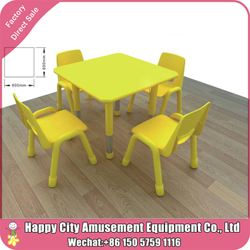 Colorful Square Nursery School Kitchen Tables Used Daycare Furniture Plastic And Chairs