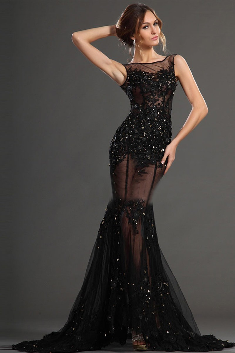 elegat black mermaid evening dresses appliques with beaded floor length imported party dress. Black Bedroom Furniture Sets. Home Design Ideas