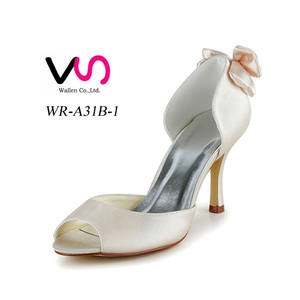 Cream color round toe handmade dyeable satin bridal shoes women wedding dress shoes for party