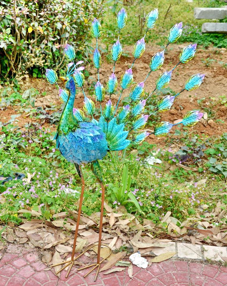 Metal Garden Bird Ornament Peacock Hand Painted
