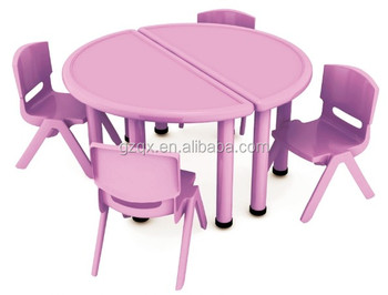Purple Semicircle Kids Study Table Design Plastic And Chairs School