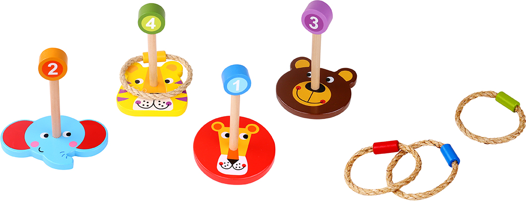 Popular New Arrival Outdoor WoodenToy Animal Ring Toss Game Set Characters