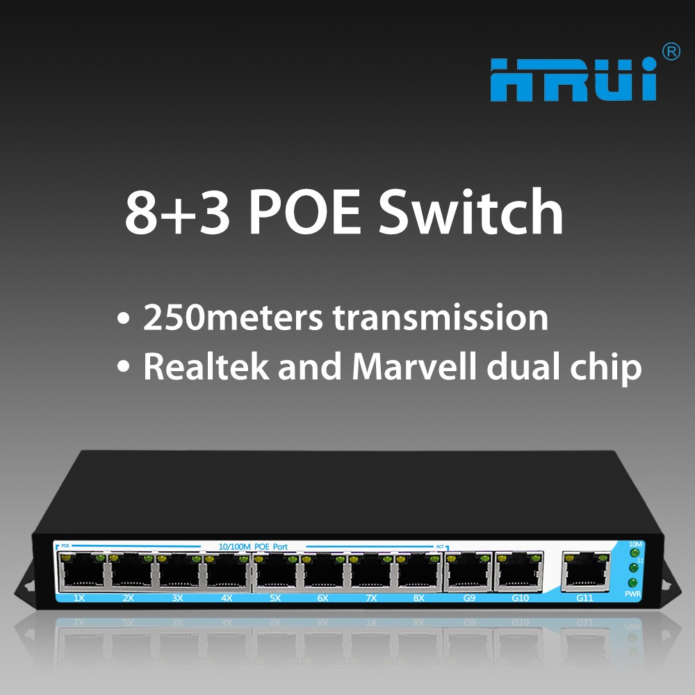 ethernet switch 48v 1000M gigabit switch hub 8 port poe with rack mount