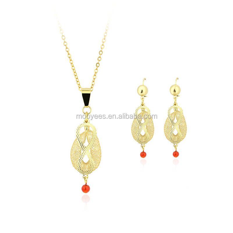 hot fashion jewelry 2017 costume jewelry women,african stone 24k gold plated jewelry sets