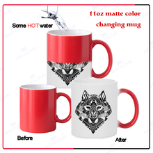 mecolour newly 11oz round changing color mug with decal printing