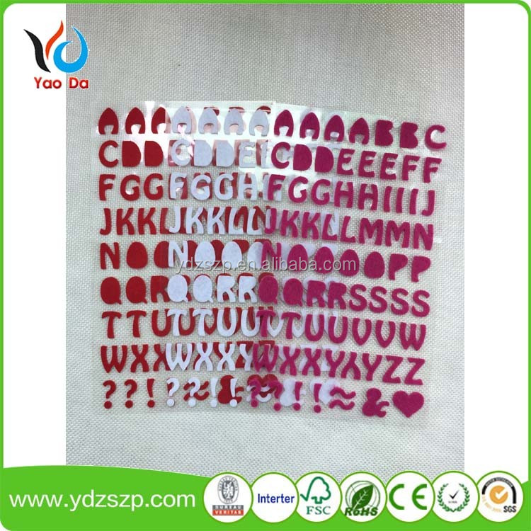 New design fashion hotsale China handmade fabric craft ornaments home decor die cut felt kids room 3d letter sticker