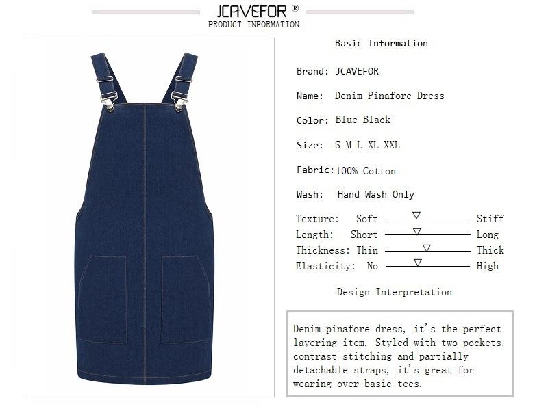 66cf867b85 Denim Sundress Women Autumn Thick Denim Pinafore Dress Two Pockets Casual  Solid Color Adjustable Strap Dress