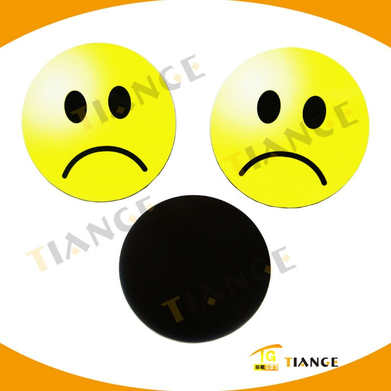 Unhappy Faced Round PVC Fridge Magnet