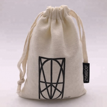 Soft Organic Cotton Drawstring Pouch With Label
