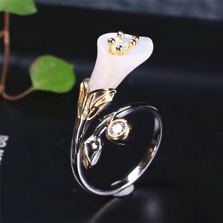 e2cc0126dfc8 Damas joyería 18 k chapado en oro 925 Italia plata natural hetian jade anillo  para mujer