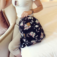 2019 Korean version of the summer new flower print small backpack floral pu fashion trend small shoulder bag female backpack
