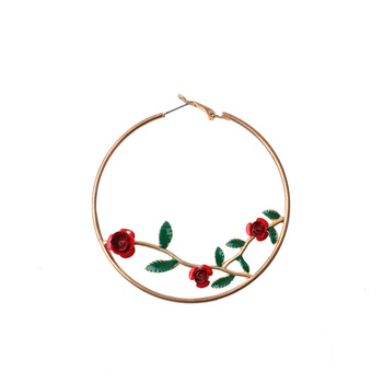 Customized Jewelry Fashion 5cm Radius Red Daisy Rose Floral Hoop Earrings