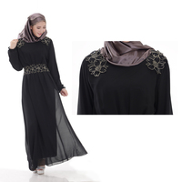 dubai fashion kaftan islamic abaya appliqued long sleeve chiffon dress muslim dress