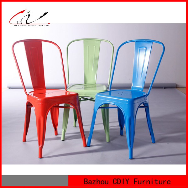 Suitable Restaurant Stackable Colorful Metal Dining Chair
