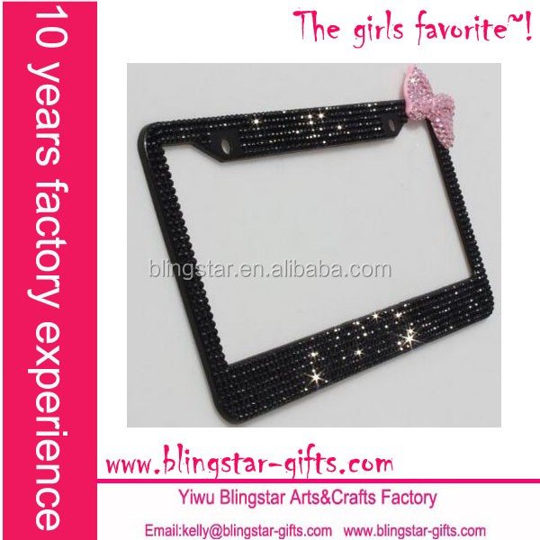 Bling Black License Plate Frame With Pink Bow - Buy Black License ...