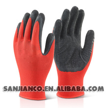 Latex Coated nylon glove rubber safety working latex palm coated gloves