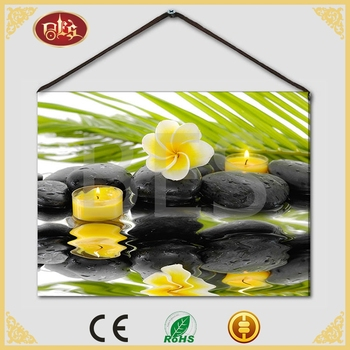 Light Up Yellow Flower Candle Spa Pre-printed Canvas