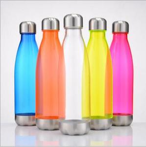 2017 new arrival good quality 500-700ml single wall tritan clear plastic cola shape water bottle with metal lid and bottom made