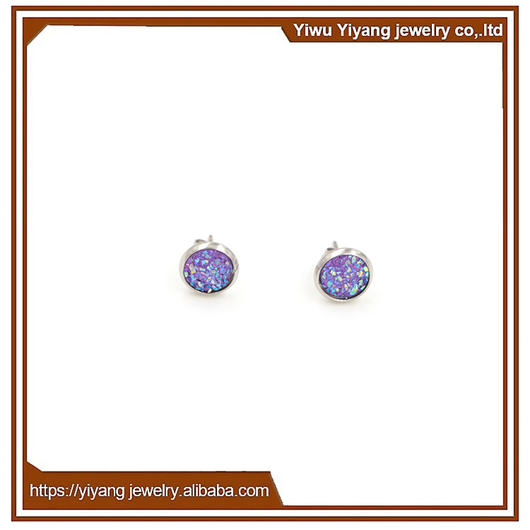 Gemstone Jewelry Light Purple Silver Tone Stud Drusy Earrings for Woman Girl