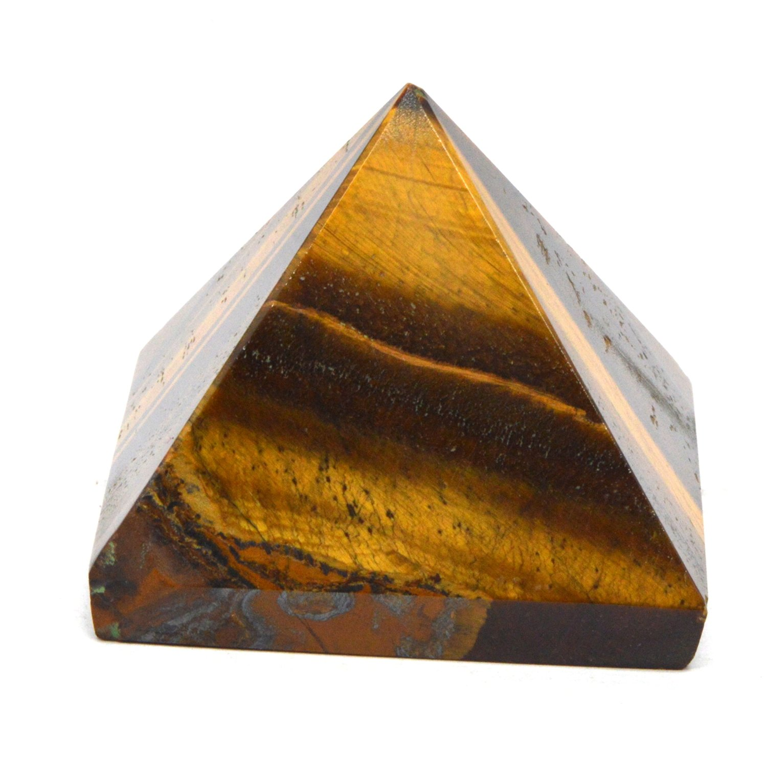 Healing Crystals India 40-50mm Natural Gemstone Pyramid Aura Balancing Reiki Energy Charged Free eBook about Crystals Healing (Tiger Eye)