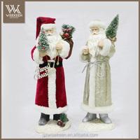 Custom Velvet Santa Statues in Paper Mache for Xmas decoration